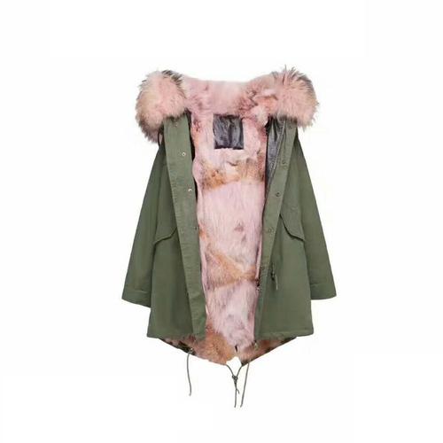 OZ6004 Ozlana女装连帽毛领外套冬季军绿色时尚欧美风中长款派克大衣皮草女 军绿粉色郊狼毛